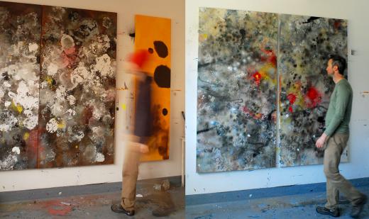 Adrian Bradbury walking towards his painting
